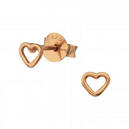 Rose Gold Heart Stud Earrings