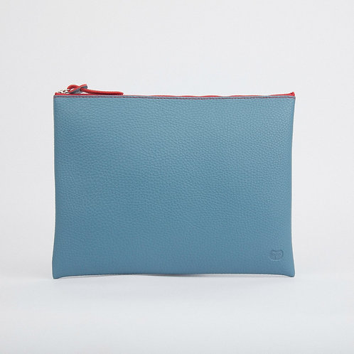 Teal & Red Large Pouch