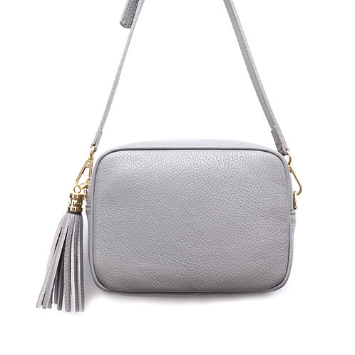 Light Grey Cross Body Bag with Tassel