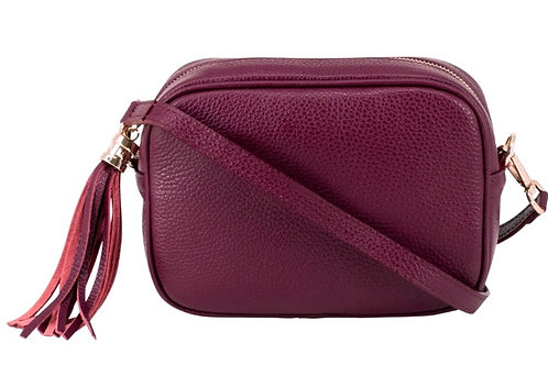 Burgundy Crossbody Bag with Tassel