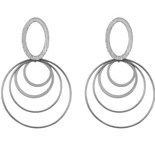 Lodis Brushed Silver Multi-Circle Drop Earrings
