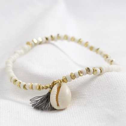 White Beaded Shell Charm Anklet