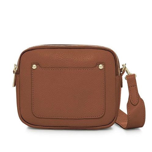 Dark Tan Double Zip Crossbody Bag