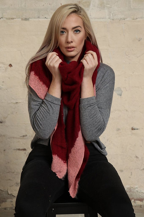 Burgundy & Pink Blanket Scarf