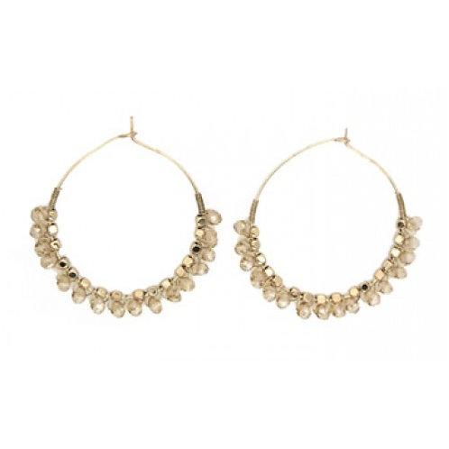 Champagne Beaded Gold Hoop Earrings