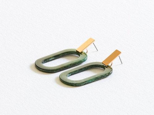 Brigitte Green Resin Earrings