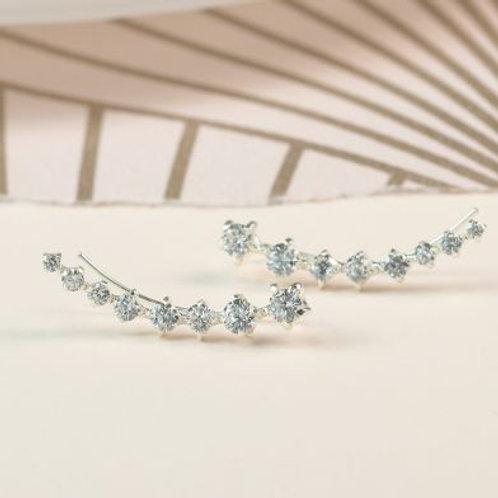 Silver Faceted Crystal Ear Climber Earrings