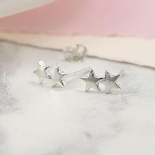 Sterling Silver Double Star Stud Earrings