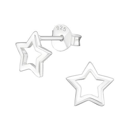 Silver Open Star Stud Earrings