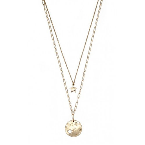 Gold Double Layered Star Disc Necklace