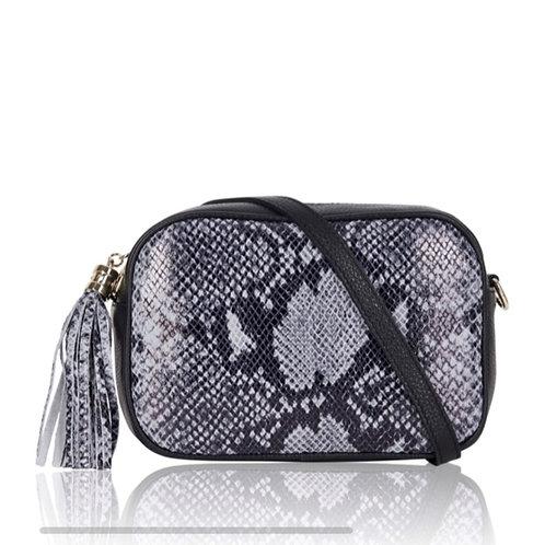 Grey Snake Cross Body Bag with Tassel