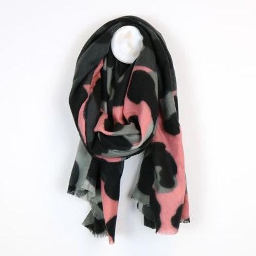 Grey & Pink Animal Print Blanket Scarf