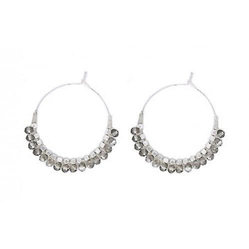 Grey Beaded Silver Hoop Earrings