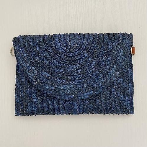 Blue Straw Clutch Bag