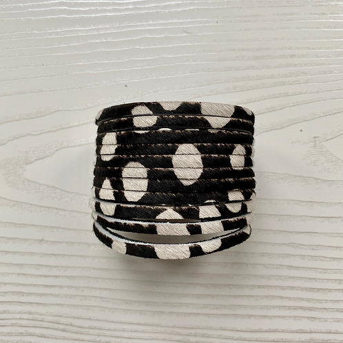 Black & White Spot Wrap Bracelet