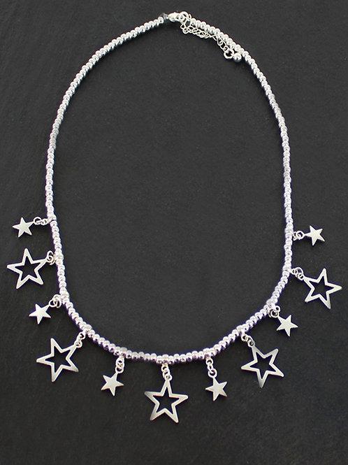 Silver Drop Star Necklace
