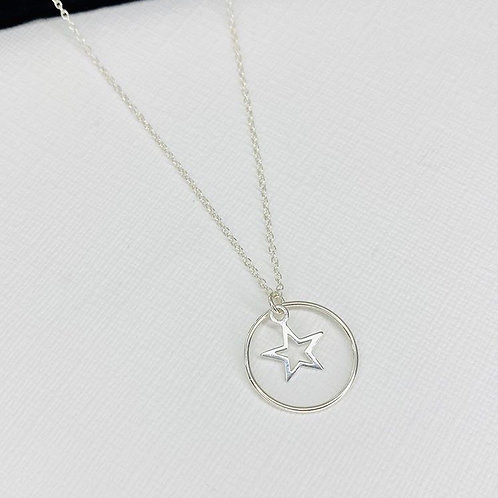 Silver Circle & Star Necklace