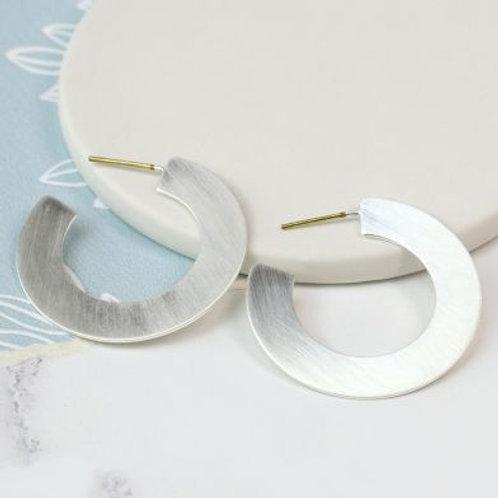 Brushed Silver Flat Hoop Earrings