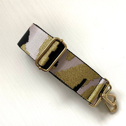 Lilac Camo Print Bag Strap - Gold Hardware