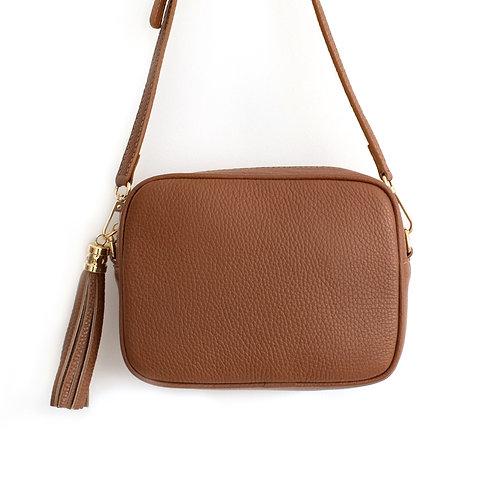 Dark Tan Crossbody Bag with Tassel