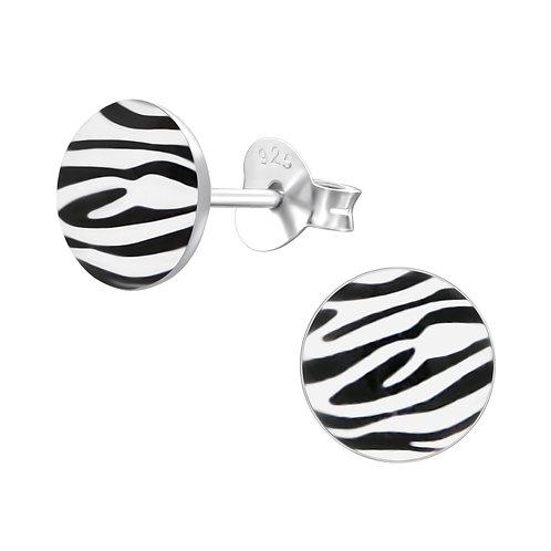 Zebra Print Sterling Silver Stud Earrings
