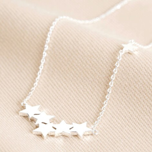 Silver Star Cluster Necklace