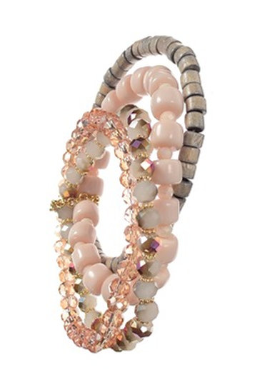 Grey & Pink Beaded Bracelet Stack
