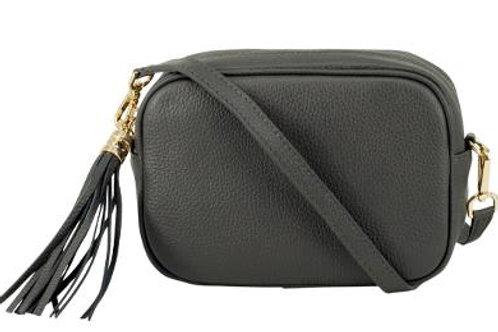 Dark Grey Cross Body Bag with Tassel