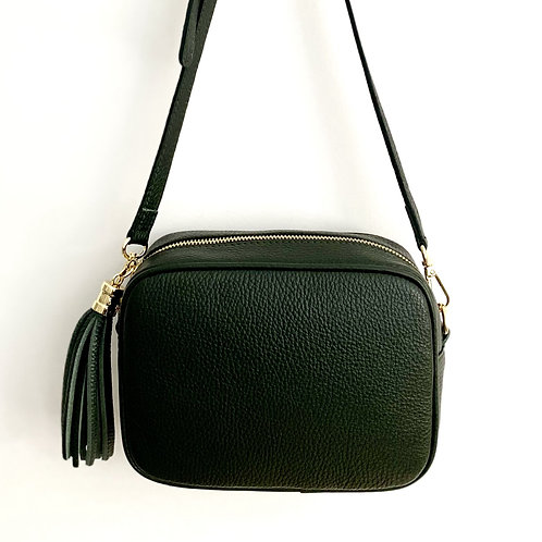 Dark Green Crossbody Bag with Tassel