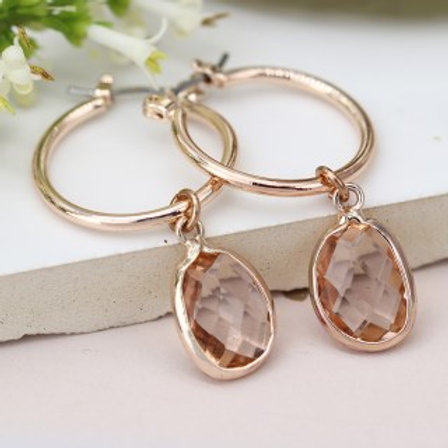 Blush Crystal Drop Hoop Earrings