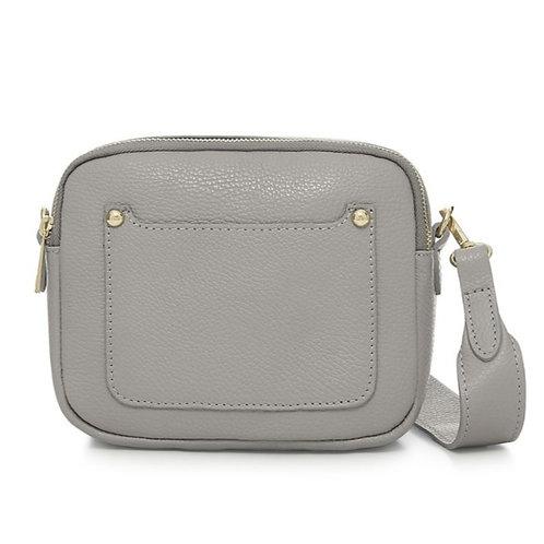 Light Grey Double Zip Crossbody Bag