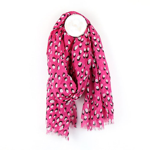 Bright Pink Shadow Dot Scarf