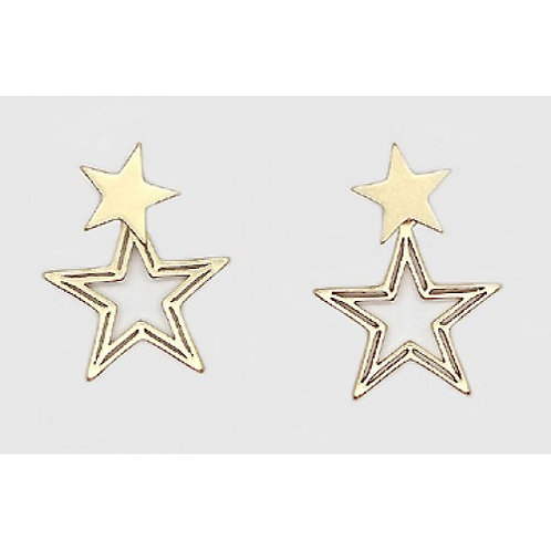 Gold Double Star Drop Earrings