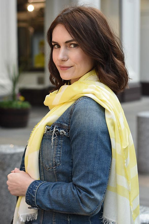 Neon Yellow & White Stripe Scarf