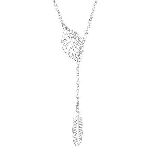 Feather & Leaf Lariat Necklace