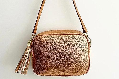 Copper Crossbody Bag with Tassel