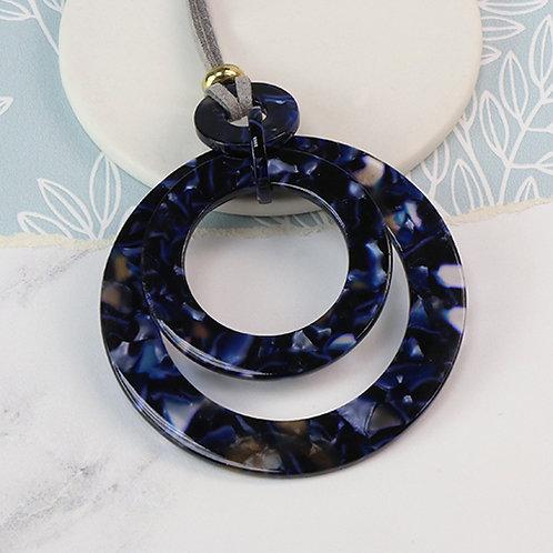 Blue Agate Acrylic Long Circle Necklace
