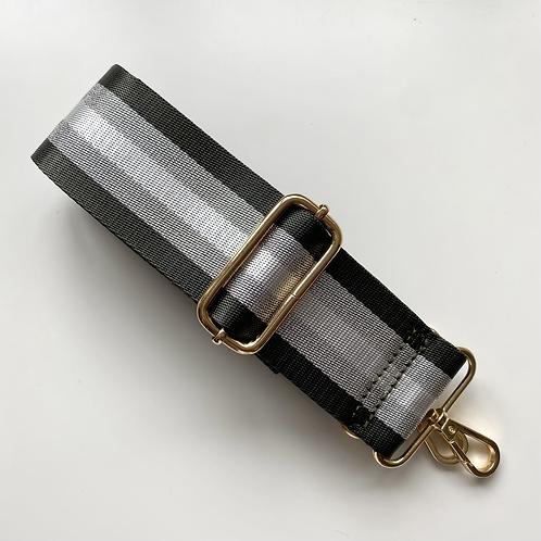 Dark Grey, White & Silver Stripe Bag Strap - Gold Hardware