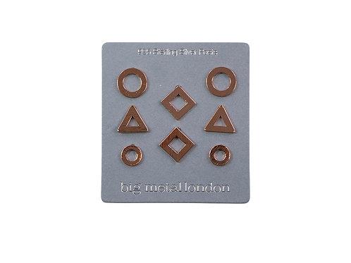 Mirielle Geometrical Rose Gold Stud Earrings Pack