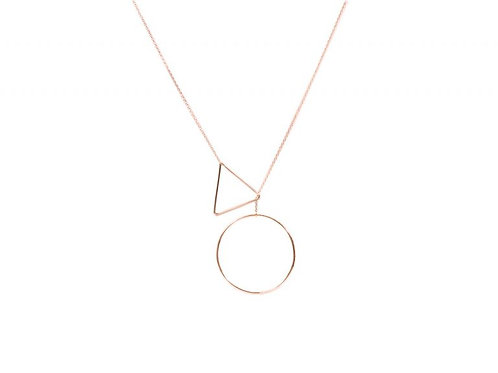 Adeline Triangle & Circle Rose Gold Necklace