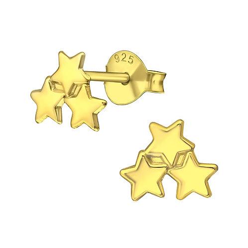 Gold Triple Star Stud Earrings