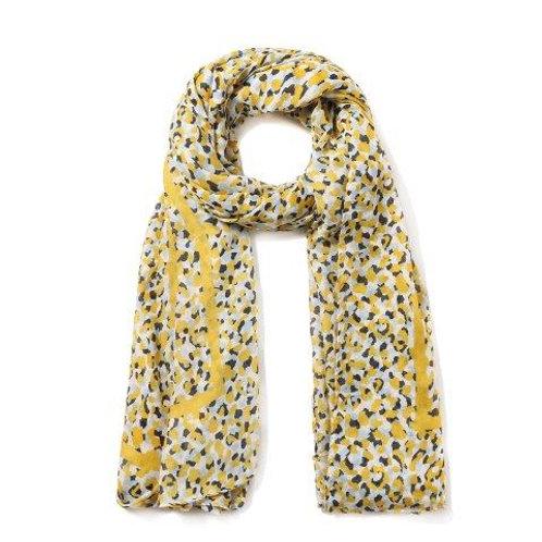 Yellow Leopard Print Scarf