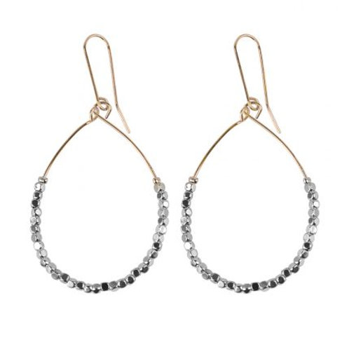 Lucienne Rose Gold & Grey Beaded Drop Earrings