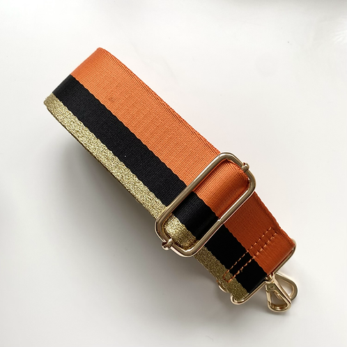 Orange Stripe Bag Strap - Gold Hardware