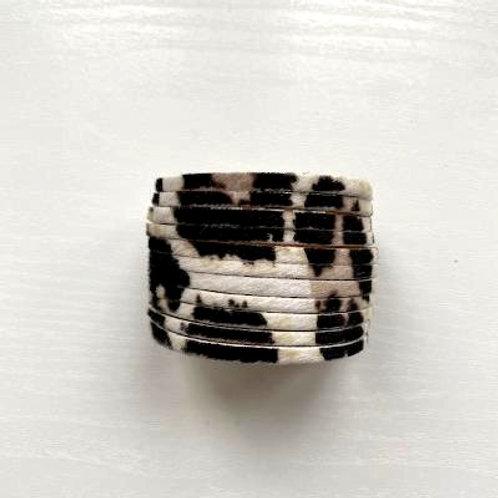 Cream & Black Animal Print Wrap Bracelet