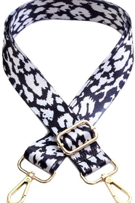 Black & White Cheetah Bag Strap