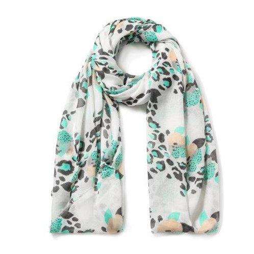 Aqua Leopard Floral Scarf