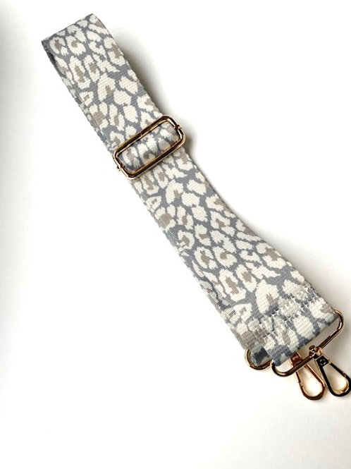 Grey Snow Leopard Bag Strap