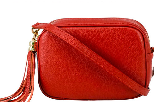Red Cross Body Bag with Tassel
