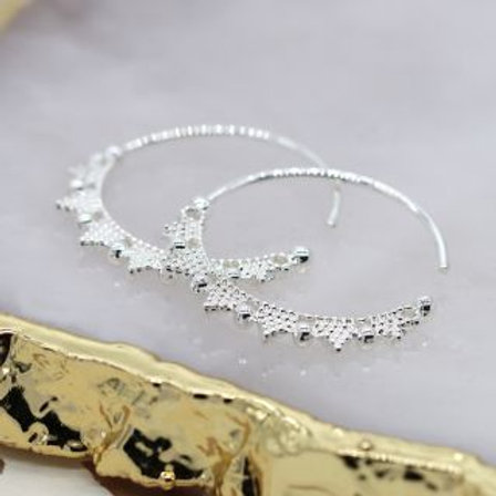 Silver Beaded Zig Zag Hoop Earrings